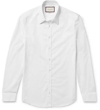 Gucci White Slim-Fit Cotton-Poplin Shirt