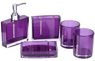 HURRISE 5 Pcs Bathroom Accessory Set Luxury Bath Vanity Set with Toothbrush Holder Containe Tumble Soap Dish Liquid Soap Lotion Pump Dispenser,Purple