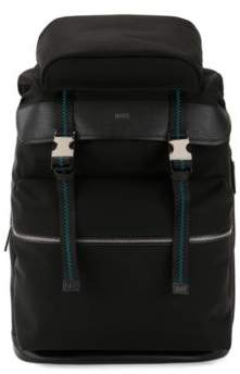 BOSS Hugo Backpack buckle closure & Italian-leather trims One Size Black