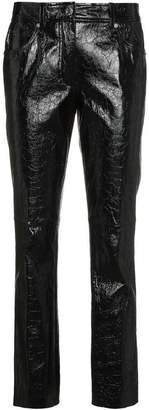 Helmut Lang leather mid rise cropped trousers