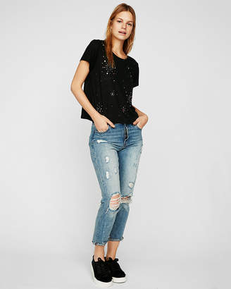 Express One Eleven Embellished Linen-Blend Boxy Tee