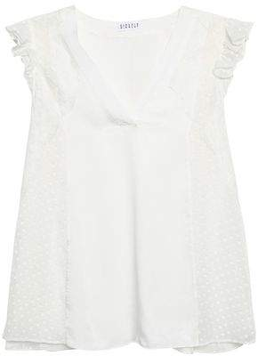 Cost Cheap Price Claudie Pierlot Woman Broderie Anglaise-trimmed Fil Coupé Silk-blend Georgette Blouse Light Blue Size 36 Claudie Pierlot Clearance Free Shipping Wholesale Price Sale Online Official Site Sale Online Buy Cheap Extremely JGj05