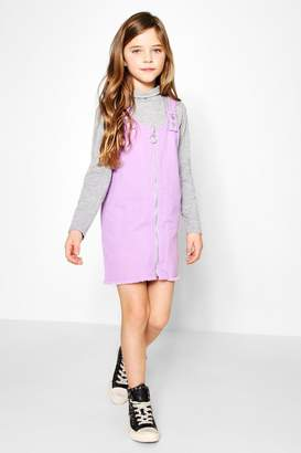 boohoo Girls O Ring Frayed Hem Pinny Dress