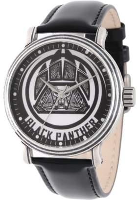 Marvel Avengers Black Panther Men's' Antique Silver Alloy Vintage Watch, Black Leather Strap