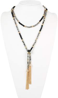 Riah Fashion Two-Tone Glass-Beads Long-Necklace