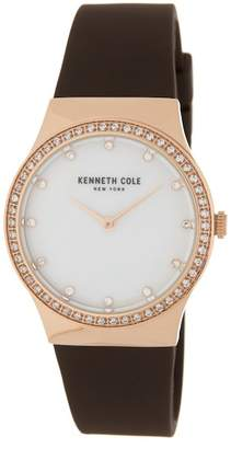 Kenneth Cole New York Women's Classic Mother of Pearl Silicone Strap Watch, 34 x 40.5mm