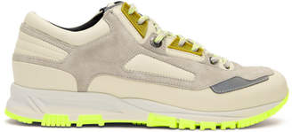 Lanvin Beige and Green Neon Sneakers