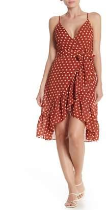 J.o.a. Polka Dot Ruffled Faux Wrap Midi Dress