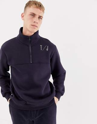 Tiger of Sweden half zip logo sweater in navy