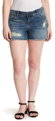 SLINK JEANS Frayed Denim Shorts (Plus Size)