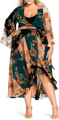 City Chic Kado Long Sleeve Wrap Maxi Dress