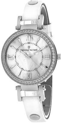 CHRISTIAN VAN SANT Christian Van Sant Petite Womens White Leather Strap Watch