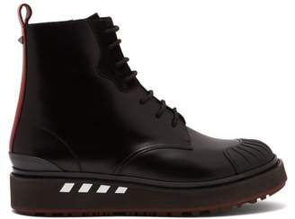 Valentino Leather And Suede Trimmed Ankle Boots - Mens - Black Red