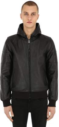 Schott Hooded Perforated Leather Jacket
