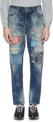 FDMTL Patchwork distressed slim fit jeans