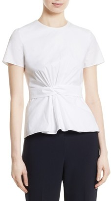 Women's Boss Igiana Ruched Knot Poplin Top $215 thestylecure.com