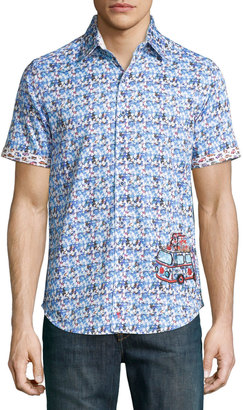 Robert Graham La Jolla Graphic Sport Shirt, Blue $165 thestylecure.com