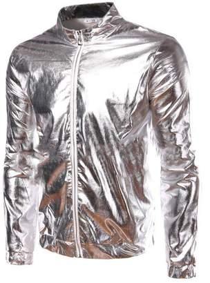 Anshuo Mens Metallic Coating Front Zip Nightclub Jacket (XS, )