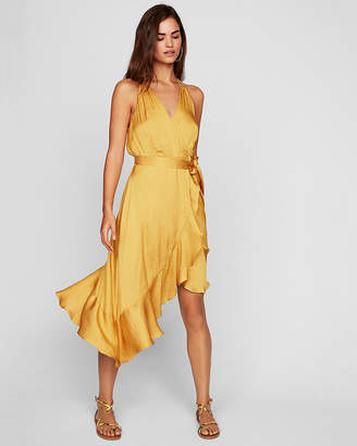 Express Petite Ruffle Wrap Midi Dress