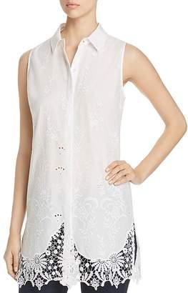 T Tahari Sabina Embroidered Lace Tunic Top