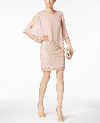 Connected Lace Cold-Shoulder Cape Dress $79 thestylecure.com