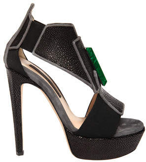 Chrissie Morris Cinzia Black Stingray Green Stone