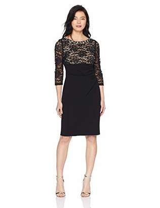 e838b52db7d01 Jessica Howard Women's Petite Beaded Neck Empire Waist Side Tucked Sheath  Dress