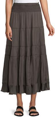 Halston Smocked-Waist A-Line Midi Skirt
