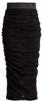 Dolce & Gabbana Ruched Lace Pencil Skirt - Womens - Black