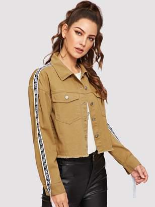 Shein Letter Side Raw Hem Crop Denim Jacket