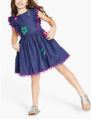 Boden Mini Girls' Floral Embroidered Scallop Dress, Dark Blue