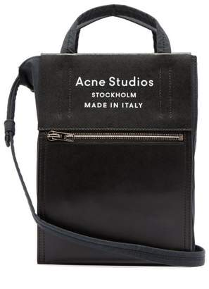 Acne Studios Baker Out Mini Leather Trimmed Canvas Tote Bag - Womens - Black