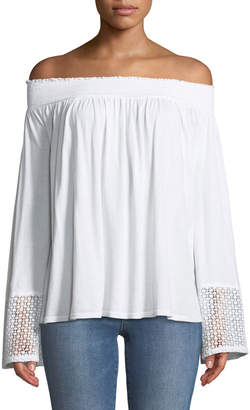 Three Dots Off-the-Shoulder Lace-Cuff Peasant Top