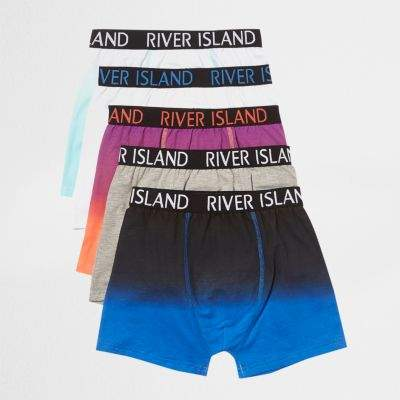 Boys blue marl RI branded trunks multipack