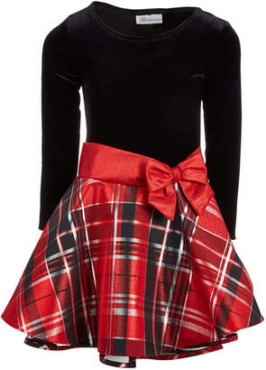 Bonnie Jean Big Girls Velvet Taffeta Plaid Dress