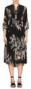 Warm Women's Floral Plissé Shirtdress - Black