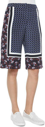 Mother of Pearl Kidd Border-Print Silk Shorts
