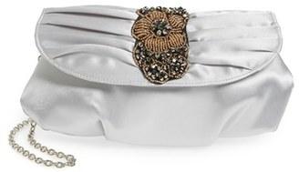 Menbur Bead & Crystal Embellished Satin Clutch - Grey $63 thestylecure.com