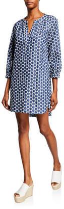 Finley Chloe Denim Dot 3/4-Sleeve Dress w/ Pockets