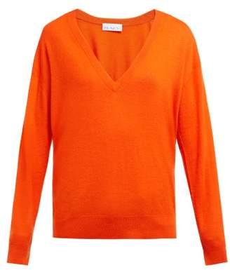 Raey V Neck Fine Knit Cashmere Sweater - Womens - Orange