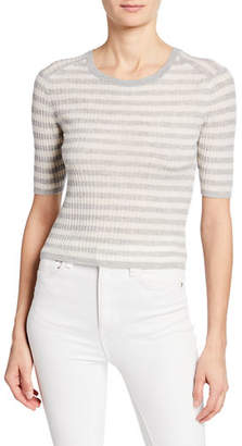 Vince Striped Elbow-Sleeve Cashmere Top