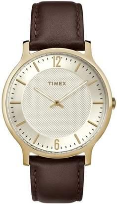 Timex Men's Metropolitan 40mm Brown/Two-Tone Watch, Leather Strap