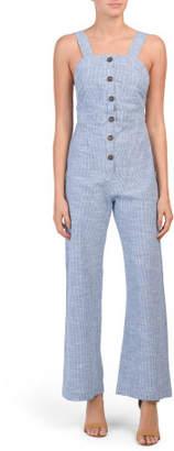 Juniors Mini Stripe Button Front Jumpsuit