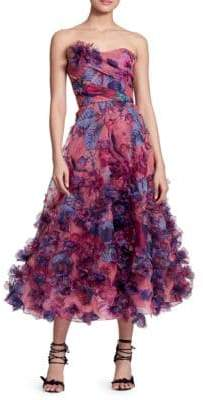 Marchesa Embellished Strapless Midi Gown