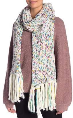 Steve Madden Marled Chunky Knit Tassel Trimmed Scarf