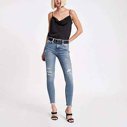 Womens Mid Blue Amelie embellished super skinny jean