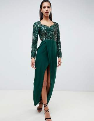 Virgos Lounge darline embellished sweetheart maxi dress with thigh split in emerald green