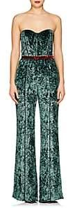 J. Mendel Women's Crushed Velvet Strapless Wide-Leg Jumpsuit - Emerald