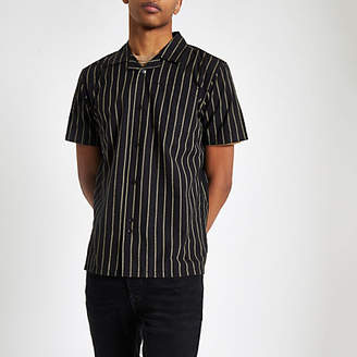 Bellfield black vertical stripe shirt
