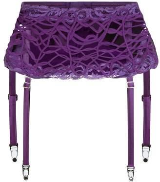 La Perla Desert Rose Violet Leavers Lace And Soutache Suspender Belt